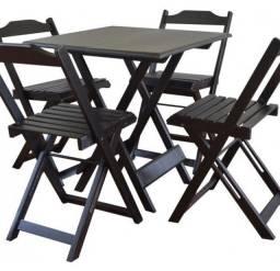 Jogo De Mesas De Bar 70x70 Com 4 Cadeiras Em Madeira