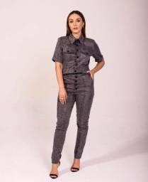 Camisa tecido croco cinza
