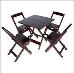 2 Jogos de mesa dobrável com 4 cadeiras