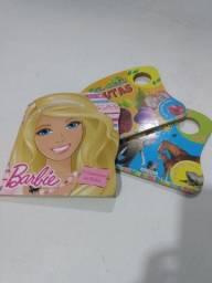 3 livros capa dura, Barbie e educativos, juntos