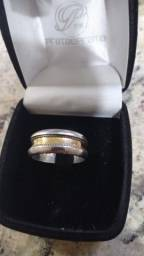 anel estilo aliança ouro e prata tam 26