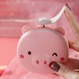 Mini Espelho Ventilador Porquinho Rosa Usb Iluminação Luz Led Para Maquiagem Portátil