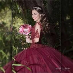 Vestido 15 anos Marsala debutante