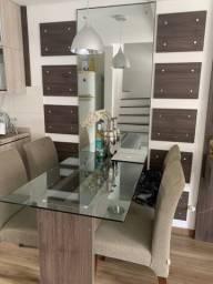 Mesa vidro 4 cadeiras,Espelho e Painel TV
