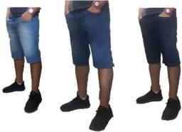 Kit 3 bermudas jeans masculina slim com lycra