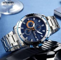 Relógio Megir Original Cronografo funcional, Inoxidável