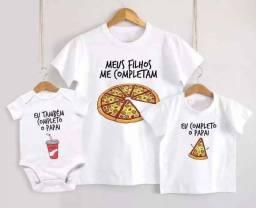 Título do anúncio: Kit 3 Camisetas Tal Pai Tal Filho Pizza Kit Pai E 2 Filhos