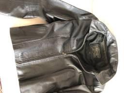 Jaqueta de couro preta feminina, semi-nova