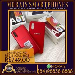 (PREÇO PROMOCIONAL) Samsung A01 Red & Azul 32Gb (NOTA FISCAL E GARANTIA DE 01 ANO)