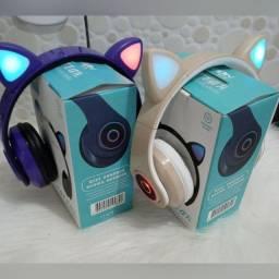Fone de ouvido via bluetooth recarregável orelha de gatinho