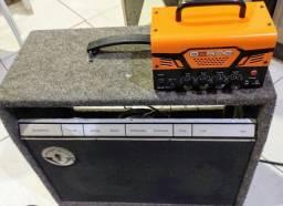 Cabeçote borne mobt30 + caixa passiva irmãos vitale com alto falante de 12 polegadas 75w