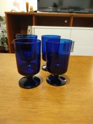 Taças em vidro azul kit com 4
