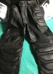 Calça em couro bovino, legitimo augustos, tamanho 40, para motociclista