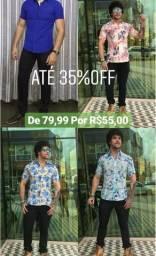 Camisas, Camisetas Longline, Calças, Bermudas e Relógios em promoção