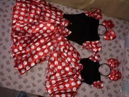 Vestido mãe e filha minnie Vermelha