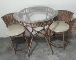 Conjunto de mesa varanda ferro ou aluminio