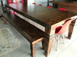 Mesa rústica para 10 lugares + banco