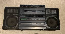 Som Antigo Mini System 3em1 Toshiba Sl 13cd Rádio Toca Fitas + Caixas De Som Funcionando!