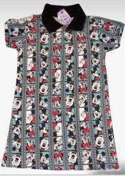 kit 45 vestido estampado gola pólo infantil