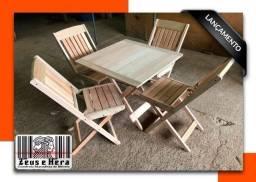 Conjunto Mesa 70x 70 com 4 Cadeiras Dobrável Madeira Maciça Bar Restaurante Lanchonete