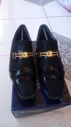 Sapato Calvest Comfort Design com Fivela Dourada de Couro Legítimo Original - BLACK FRIDAY