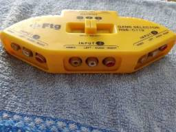 Chaveador RCA de Audio e Video - 3 Entradas triplas e 1 Saída