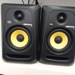 Par de monitor krk e placa de áudio