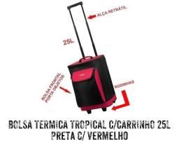 BOLSA TÉRMICA TROPICAL C/ CARRINHO 25L PRETA C/ VERMELHO