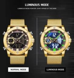 Relógio Masculino Naviforce Original Luz de Led Analógico E Digital