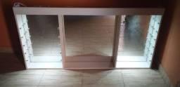 Expositor de esmalte com espelho e luminaria bem conservado 350