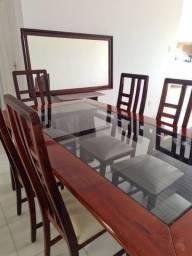 Conjunto de mesa de jantar + 6 cadeiras + espelho, tudo de Madeira Laqueada.