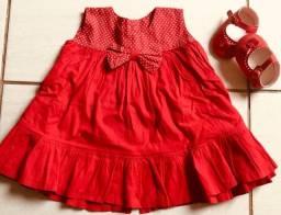 Vestido + sapatinho 3/6 meses