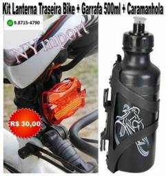 Kit Lanterna Traseira Bike Bicicleta + Garrafa 500ml + Caramanhola