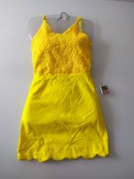 Vestido Amarelo rendado novo 20 Reais