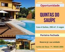 Quintas do Sauípe, casa 4 suítes, 298 m², 5 vagas, porteira fechada, na Costa do Sauípe