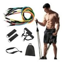 Título do anúncio: Kit 11 Elastico Extensor Treino Academia Exercícios Em Casa