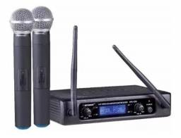 Microfone Karsect Sem Fio Duplo De Mão Kru220m Uhf