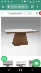 Linda mesa jantar madeira 8 lugares tampo laca e vidro 2 m x 1 m nova com pequeno dano