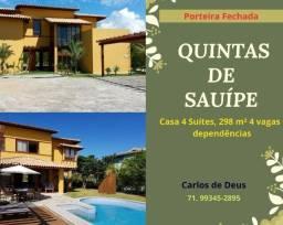 Oportunidade: Quintas do Sauípe, casa 4 suítes, 298 m², 5 vagas, porteira fechada