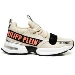 Tênis Masculino Philipp Plein Couro Lançamento Bege - Envio Imediato