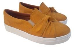 slip on sapatênis feminino amarelo confort casual laço yone