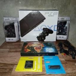 Console Sony Playstation 2 Slim  Com 2 Controles, 1 Memory Card e Pendrive com 9 jogos