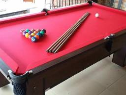 Mesa com Tecido Vermelho, Cor Tabaco (4 pés) Residencial Mod OASL0239