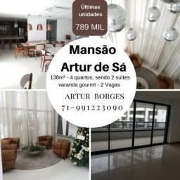 Mansão Artur de Sá, 4 quartos com 2 suítes em 138m² - Por 789 mil, na Pituba
