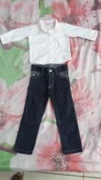 Calça Jeans e Camisa Social Veste até 2 Anos