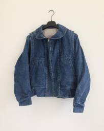 Jaqueta jeans vintage forrada unissex