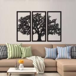 Quadro Árvore Da Vida 3 Peças Madeira Preta (padrão)