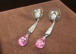 Brinco Semijoia Cristal Rosa