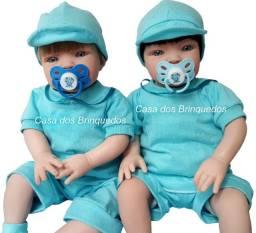 Bebê Reborn Menino Bonézinho Loiro ou Moreno! Com Bolsa Maternidade e Acessórios
