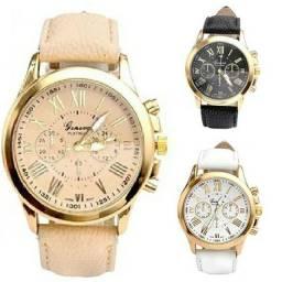 Relógio Geneva Pulseira de Couro - entrega grátis